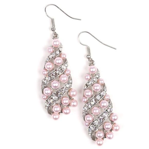 Fancy Pink Pearl & Rhinestone Silver Earrings